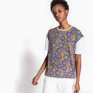 La Redoute Collections Dual Fabric Floral Print T-Shirt