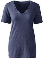 Classic Women's Petite Relaxed Slub Jersey V-neck T-shirt-Antique Navy Heather