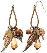 Mudd Bead & Textured Leaf Drop Earrings