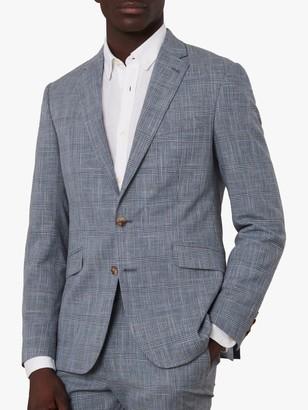 Jaeger Linen Blend Check Slim Fit Blazer, Blue