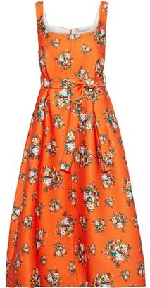 Emilia Wickstead Shaina Belted Floral-print Cloque Midi Dress
