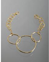 gold hammered triple link bracelet