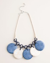 Chico's Chicos Blue and Neutral Disc Bib Necklace