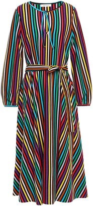 Parker Chinti & Belted Striped Cotton Midi Dress