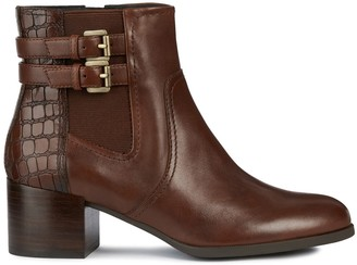 Geox Jacy Leather Ankle Boots with Faux Snakeskin and Block Heel