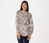 Joan Rivers Classics Collection Joan Rivers Floral Print Blouse with Pintuck Detail