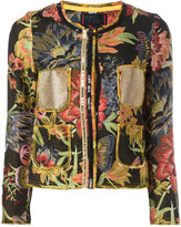 Femme By Michele Rossi - jacquard cropped jacket - women - Cotton/Polyester - 42