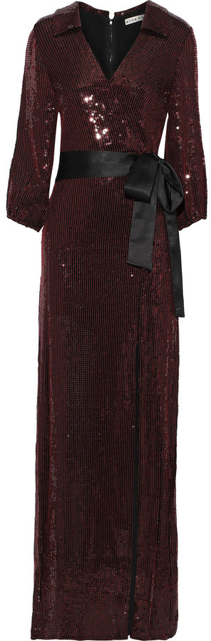 Alice + Olivia Wrap-effect Sequined Crepe Gown