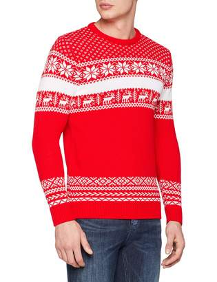 LARGE ONLY Ex Topman Green Me My Elf and I Ugly Sweater Christmas Festive Jumper