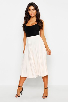 boohoo Slinky Pleated Midi Skirt