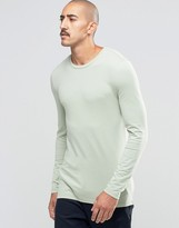 Asos Extreme Muscle Long Sleeve T-Shirt With Crew Neck In Green