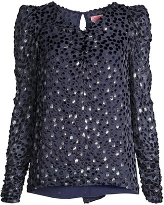 Kate Spade Velvet Dotted Princess-Sleeve Top