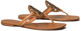 Tory Burch Miller Square-Toe Crystal Sandal