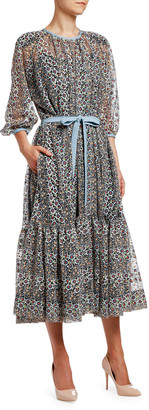 Antonio Marras Tiny Floral Lace Flounce Dress