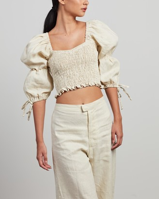 Faithfull The Brand Women's Neutrals Cropped tops - Harlyn Top - Size 6 at The Iconic