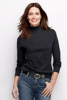 Lands' End Women's Tall Long Sleeve Relaxed Cotton Mock Turtleneck