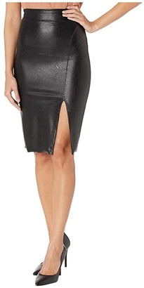 Commando Faux Leather Side Slit Midi Skirt SK11