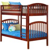 Atlantic Richland Wood and Rubberwood Twin over Twin Bunk Bed with Walnut Finish