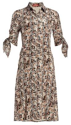 Altuzarra Narcissa Snakeskin-Print Silk Shirtdress