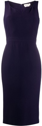 Alexander McQueen Sweetheart-Neck Fitted Midi Dress