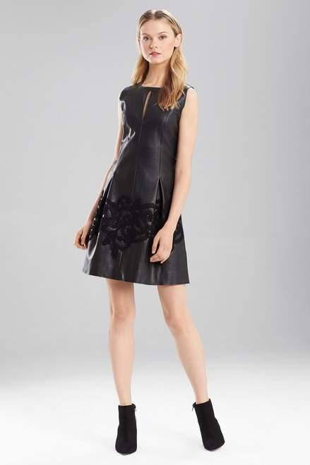 Josie Natori Faux Leather Dress