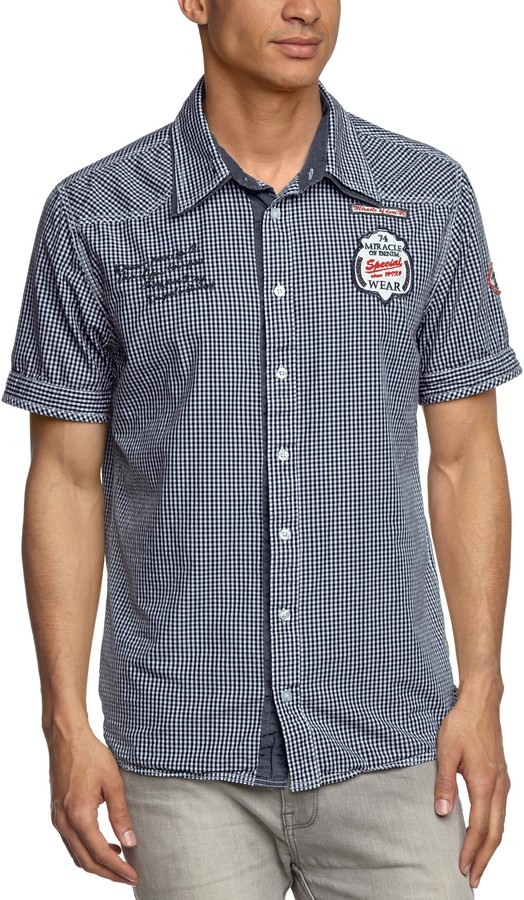 Mod 8 M.O.D Men's Checkered Short Sleeve Casual Shirt - Blue - Small