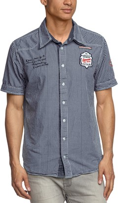 M.O.D. Men's Checkered Short Sleeve Casual Shirt - Blue - Small