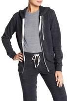 Alternative Distressed Fleece Zip Hoodie