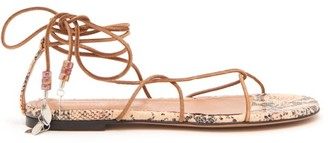 Isabel Marant Jindia Bead-embellished Rope And Leather Sandals - Womens - Tan