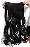 "Popular 24"" Dark Black Long New Wavy Curly 5 Clips One Piece Clip in Hair Extension Extensios Half Full Head Hair Piece"