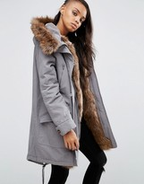 Asos Parka with Colored Faux Fur Liner