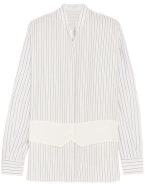 Victoria Beckham Pinstriped Silk Crepe De Chine Shirt