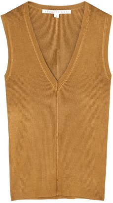 Veronica Beard Brie Bronze Ribbed-knit Tank