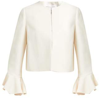 Valentino Ruffled Cuff Wool Blend Jacket - Womens - Ivory
