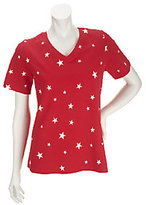 As Is Denim & Co. Perfect Jersey V-Neck Star Print Top