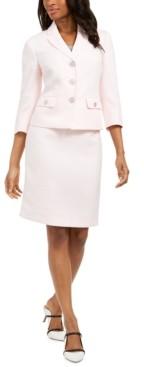 Le Suit Petite 3/4-Sleeve Skirt Suit