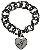 Judith Ripka As Is Sterling Black Verona Initial Heart Bracelet, 37.8g