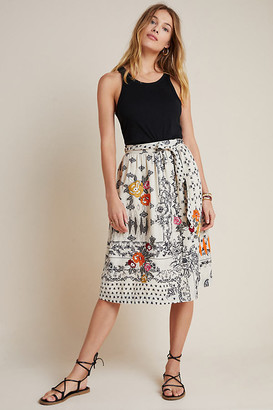 Vineet Bahl Devi Embroidered Midi Skirt By in Black Size S