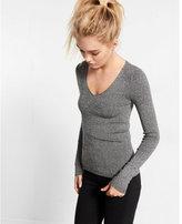 Express marled fine ribbed v-neck sweater