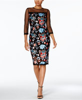 Jax Embroidered Illusion Sheath Dress