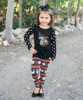 Beary Basics Black Dot Reindeer Tee & Fair Isle Leggings - Toddler & Girls