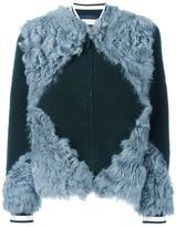 Tory Burch patchwork fur bomber jacket