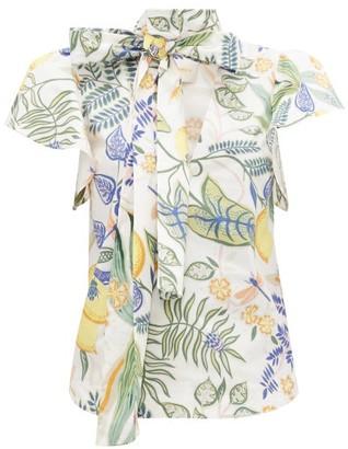 La DoubleJ Lou Lou Botanical-print Cotton-blend Blouse - Womens - White Print