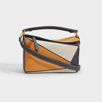 Loewe Puzzle Small Bag In Amber And Beige Calfskin