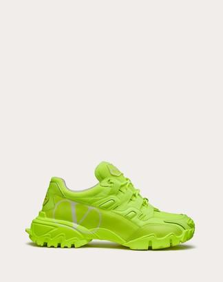 Valentino Climbers Sneaker In Calfskin Leather And Fabric Women Neon Pink/white Polyamide 100%, Calfskin 37.5