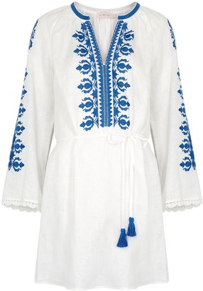 Tory Burch White Embroidered Linen Mini Dress