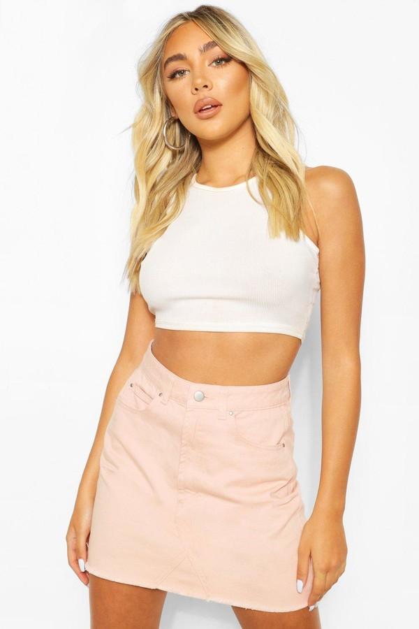 boohoo Nude Frayed Hem Denim Micro Mini Skirt