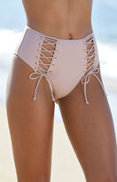 La Hearts Lace-Up High-Waisted Bikini Bottom