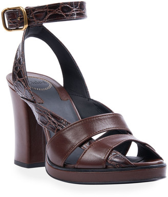 Chloé Daisy Croc-Print Leather Platform Sandals