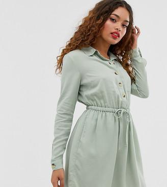 Miss Selfridge Petite belted shirt dress in sage-Green